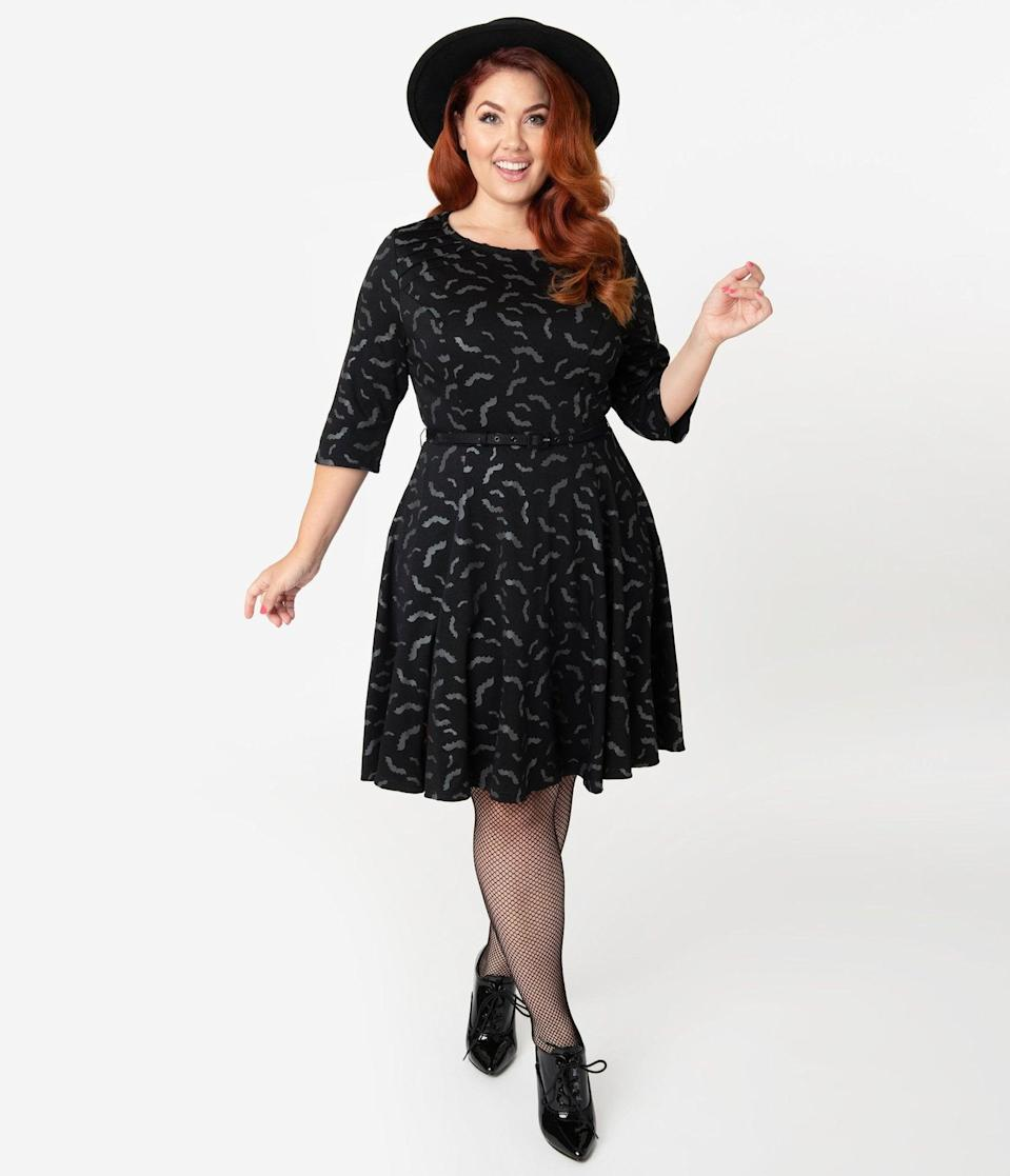 <p>No one will bat an eye looking at this <span>Unique Vintage Plus Size Black and Grey Bats Print Stephanie Fit and Flare Dress</span> ($88).</p>