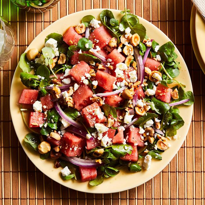 <p>In this watermelon and goat cheese salad, the contrasting flavors and textures of crisp, sweet melon and creamy, tangy goat cheese are magical partners. Top with sliced grilled chicken to make it a meal.</p>