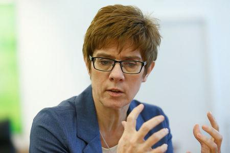 Annegret Kramp-Karrenbauer attends a Reuters interview in Saarbruecken