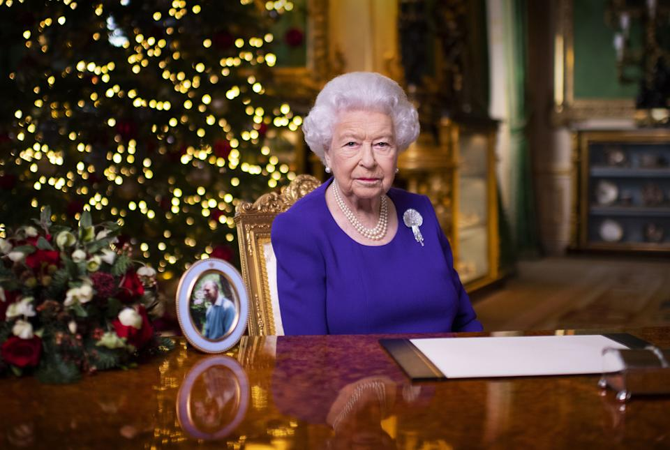 EMBARGOED: not for publication in any territory before 1500 LOCAL TIME. No use after 24 January 2021 without the prior written consent of The Communications Secretary to The Queen at Buckingham Palace. Queen Elizabeth II records her annual Christmas broadcast in Windsor Castle, Berkshire.
