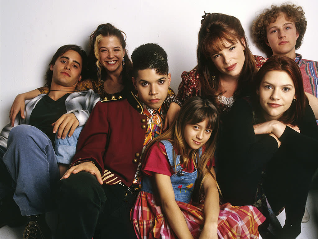 MY SO-CALLED LIFE - gallery - 8/25/94 Claire Danes (second from right) played Angela Chase, a 15-year-old who wanted to break out of the mold as a strait-laced teen-ager and straight-A student. Pictured, left to right: Jason Leto (Jordan Catalano), A.J. Langer (Rayanne Graff), Wilson Cruz (Rickie Vasquez), Lisa Wilhoit (Danielle Chase), Devon Odessa (Sharon Cherski), Claire Danes (Angela Chase), Devon Gummersall (Brian Krakow) (ABC/MARK SELINGER)