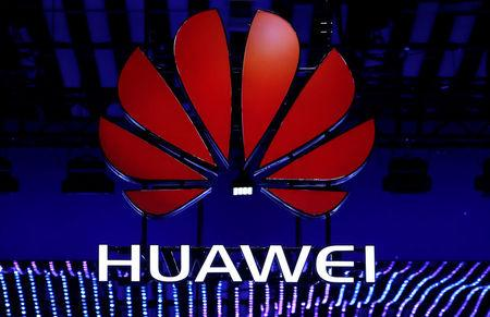 The Huawei logo is seen during the Mobile World Congress in Barcelona