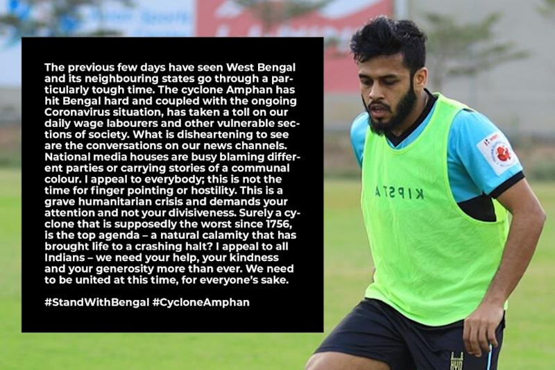 Indian Footballer Souvik Chakrabarti Appeals for Unity Amidst Cyclone Amphan Calamity
