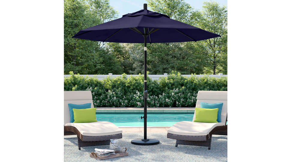 This well-made, generously sized umbrella angles for custom shade — and it's $80 off! (Photo: Wayfair)