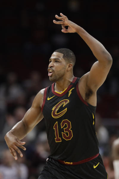 Cleveland Cavaliers' Tristan Thompson celebrates after scoring against the Atlanta Hawks in the second half of an NBA basketball game, Wednesday, Feb. 12, 2020, in Cleveland. The Cavaliers won 127-105. (AP Photo/Tony Dejak)