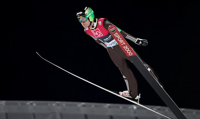 Ski Jumping World Cup - Men's HS134 Qualification - Holmenkollen, Oslo, Norway - March 9, 2018. Jernej Damjan of Slovenia is seen during official training. NTB Scanpix/Terje Bendiksby via REUTERS ATTENTION EDITORS - THIS IMAGE WAS PROVIDED BY A THIRD PARTY. NORWAY OUT. NO COMMERCIAL OR EDITORIAL SALES IN NORWAY.