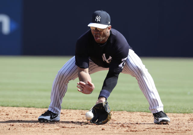 Russell Wilson wants to show off his skills in a Yankees spring training game. (AP Photo/Lynne Sladky)