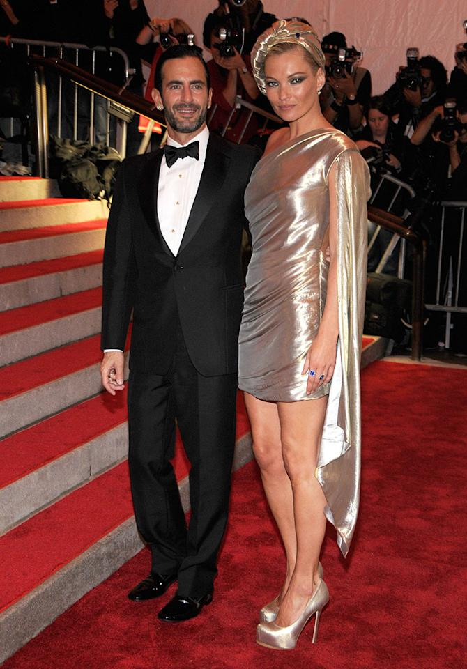 "Marc Jacobs showed off his muse du jour, Kate Moss, who successfully rocked a cape-adorned gold gown and matching turban. Kevin Mazur/<a href=""http://www.wireimage.com"" target=""new"">WireImage.com</a> - May 4, 2009"