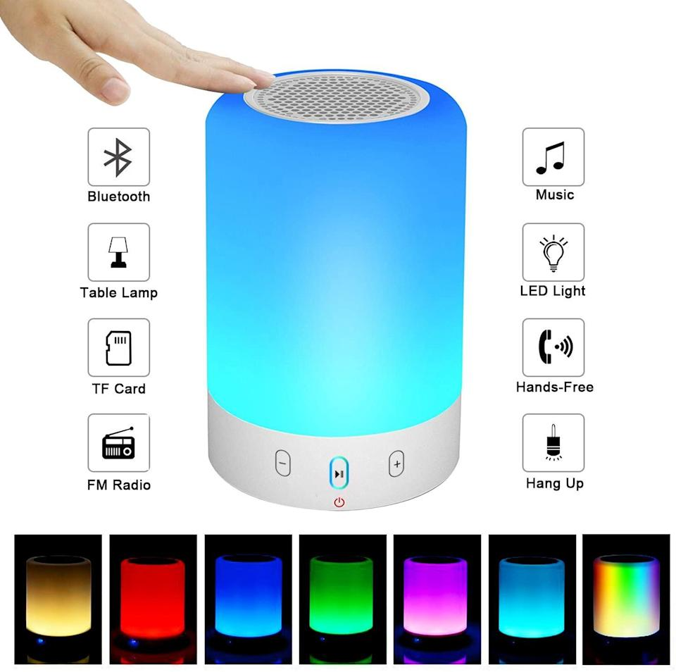 "<h2>Night Light Bluetooth Speaker</h2><br>This speaker not only offers great-sounding tunes and radio, it also doubles as a soothing night light. <br><br><strong>VOCH</strong> Night Light Bluetooth Speaker, $, available at <a href=""https://www.amazon.com/Bluetooth-Portable-Subwoofer-Handsfree-Supported/dp/B06XBZQ3HX"" rel=""nofollow noopener"" target=""_blank"" data-ylk=""slk:Amazon"" class=""link rapid-noclick-resp"">Amazon</a>"