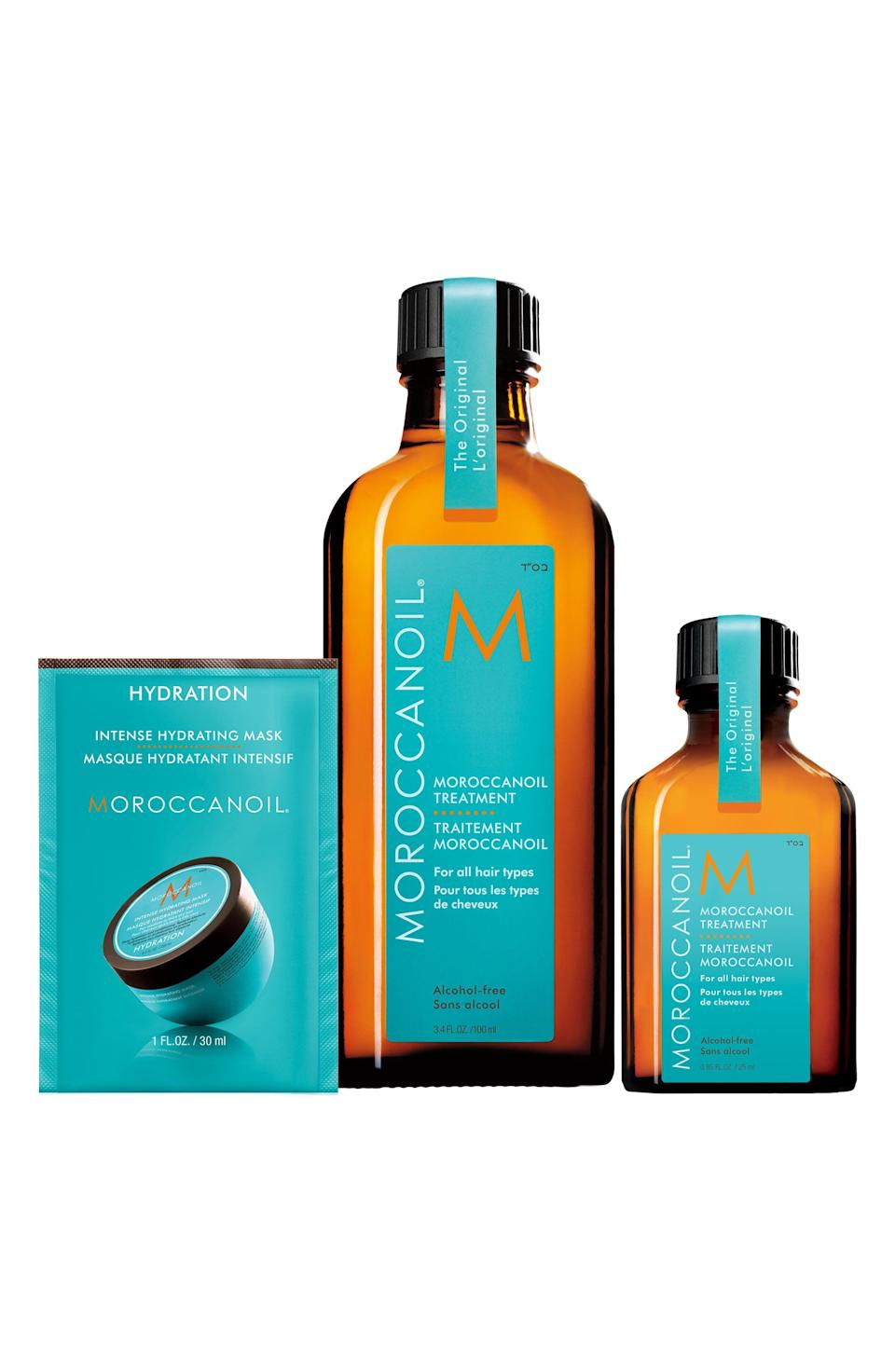 """<p><strong>MOROCCANOIL</strong></p><p>nordstrom.com</p><p><strong>$44.00</strong></p><p><a href=""""https://go.redirectingat.com?id=74968X1596630&url=https%3A%2F%2Fwww.nordstrom.com%2Fs%2Fmoroccanoil-treatment-set-66-value%2F5910295&sref=https%3A%2F%2Fwww.elle.com%2Fbeauty%2Fg36944650%2Fnorstrom-anniversary-beauty-sale-2021%2F"""" rel=""""nofollow noopener"""" target=""""_blank"""" data-ylk=""""slk:Shop Now"""" class=""""link rapid-noclick-resp"""">Shop Now</a></p><p>For hair that's dying of thirst, give them a glass of water in the form of hydrating hair oils and a luxe mask that will reverse all the damaging processes you've put your head through. </p>"""