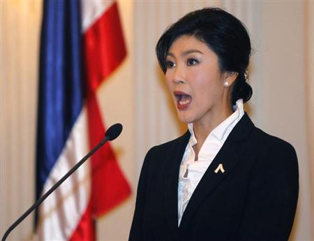 Thailand's Prime Minister Yingluck Shinawatra speaks during a news conference at the Government House in Bangkok