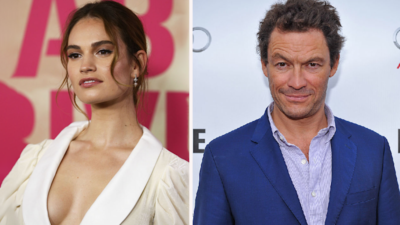 Lily James (left) co-star lover Dominic West (right)