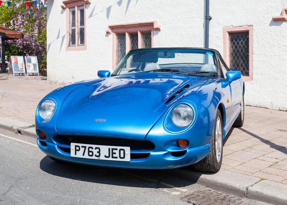 Penrith, England - May 1, 2017:  An historic TVR Chimaera convertable sports car awaits the annual May Day parade through Penrith town centre in Cumbria, England.