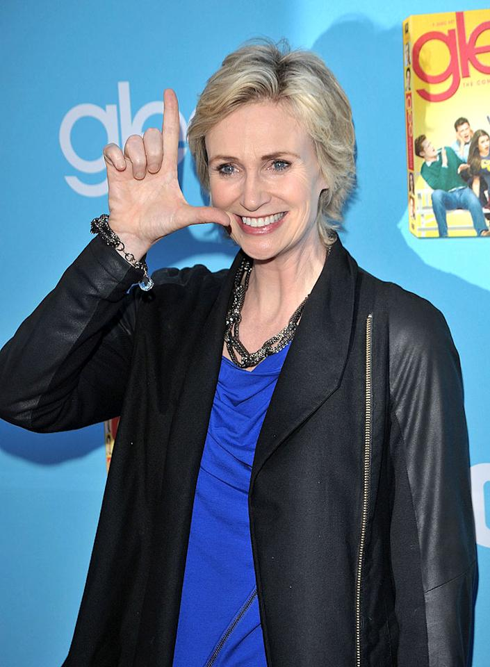"Emmy Award winner Jane Lynch is proud to be a Gleek! Lester Cohen/<a href=""http://www.wireimage.com"" target=""new"">WireImage.com</a> - September 7, 2010"