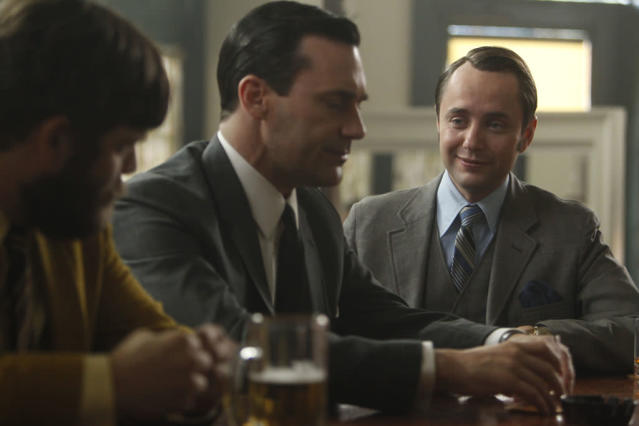 "Stan Rizzo (Jay R. Ferguson), Don Draper (Jon Hamm) and Pete Campbell (Vincent Kartheiser) in the ""Mad Men"" episode, ""To Have and to Hold."""
