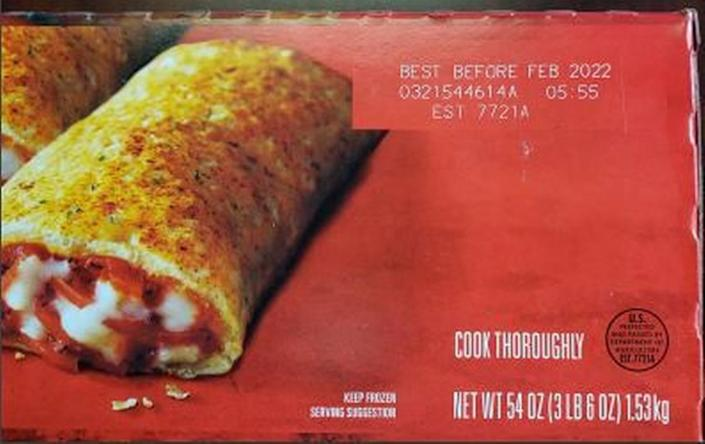 Where you'll find the lot number and expiration date on the recalled Hot Pockets.