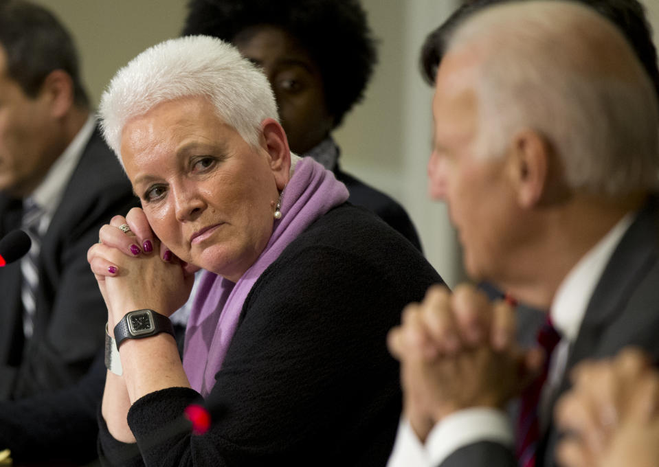 This Nov. 13, 2014, photo shows White House adviser Gayle Smith, attending a meeting with Vice President Joe Biden, on President Barack Obama administration's response to Ebola in the Eisenhower Executive Office Building at the White House compound in Washington. President Barack Obama tapped Smith on April 30, 2015, to run the U.S. Agency for International Development, putting a former journalist and longtime Africa expert in charge of his global development agenda for the final years of his presidency. Smith, the senior director for development and democracy at the White House's National Security Council, has had a diverse career working on humanitarian efforts in and out of government, including a former stint at USAID.  (AP Photo/Manuel Balce Ceneta)