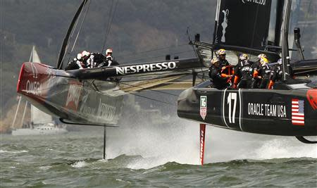 Emirates Team New Zealand trails Oracle Team USA during Race 5 of the America's Cup yacht sailing race in San Francisco