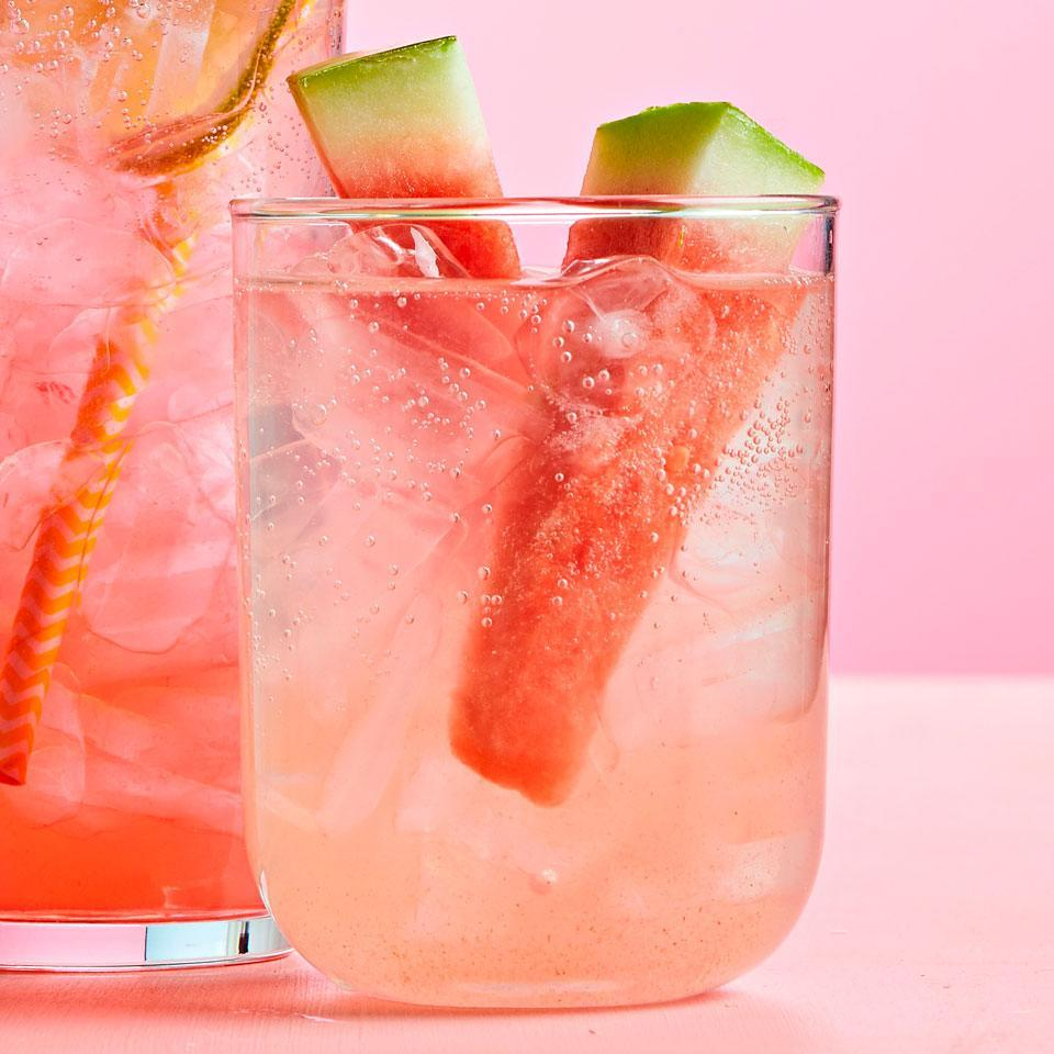 <p>Watermelon, cucumber, fresh basil, and lime juice flavor a summer drink that's fancy enough for guests. The soda takes only minutes to put together. Keep the fruit concentrate, simple syrup, and seltzer water separately in the fridge, then mix just before serving.</p>