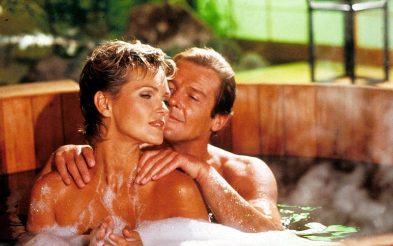 Roger Moore with Fiona Fullerton in A View to A Kill - Credit: Rex Features