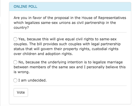 Photo: Screenshot of the same-sex union poll on Congress website