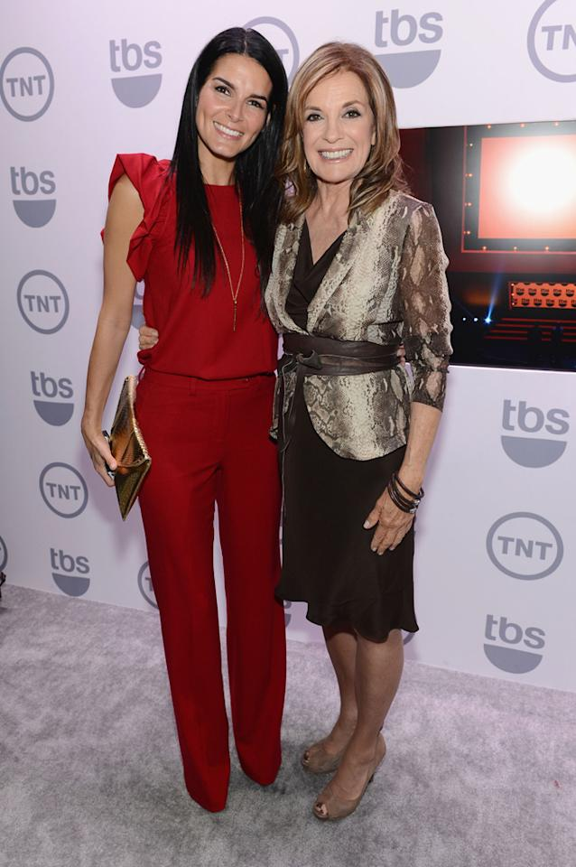 "Angie Harmon (""Rizzoli and Isles"") and Linda Gray (""Dallas"") attend the TNT/TBS 2012 Upfront Presentation at Hammerstein Ballroom on May 16, 2012 in New York City."