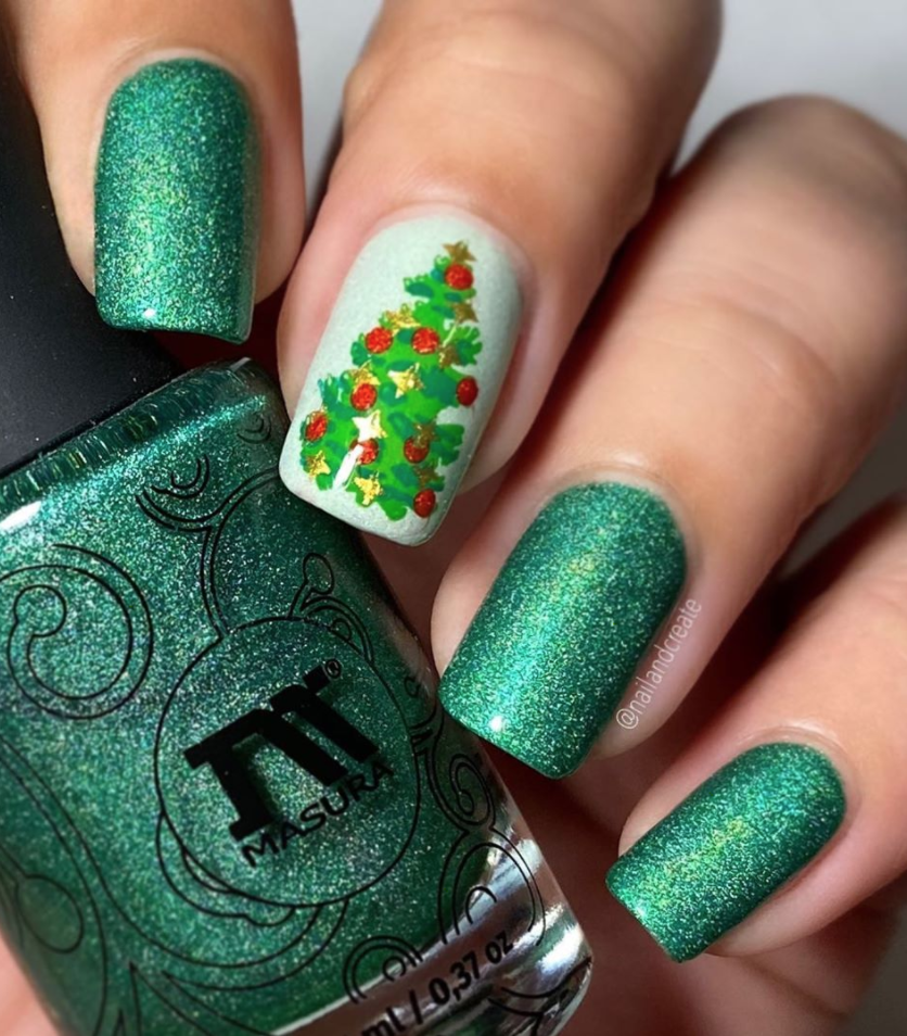 "<p>If you like showstopper nails, go for a glittery green with a statement Christmas tree just like <a href=""https://www.instagram.com/nailandcreate/"" rel=""nofollow noopener"" target=""_blank"" data-ylk=""slk:Swedish nail artist Maria"" class=""link rapid-noclick-resp"">Swedish nail artist Maria</a> did here.</p><p><a class=""link rapid-noclick-resp"" href=""https://go.redirectingat.com?id=74968X1596630&url=https%3A%2F%2Fwww.ulta.com%2Fsesame-street-50th-anniversary-holiday-collection%3FproductId%3Dpimprod2008735%26sku%3D2555099&sref=https%3A%2F%2Fwww.oprahmag.com%2Fbeauty%2Fg34113691%2Fchristmas-nail-ideas%2F"" rel=""nofollow noopener"" target=""_blank"" data-ylk=""slk:SHOP GLITTER POLISH"">SHOP GLITTER POLISH</a></p>"