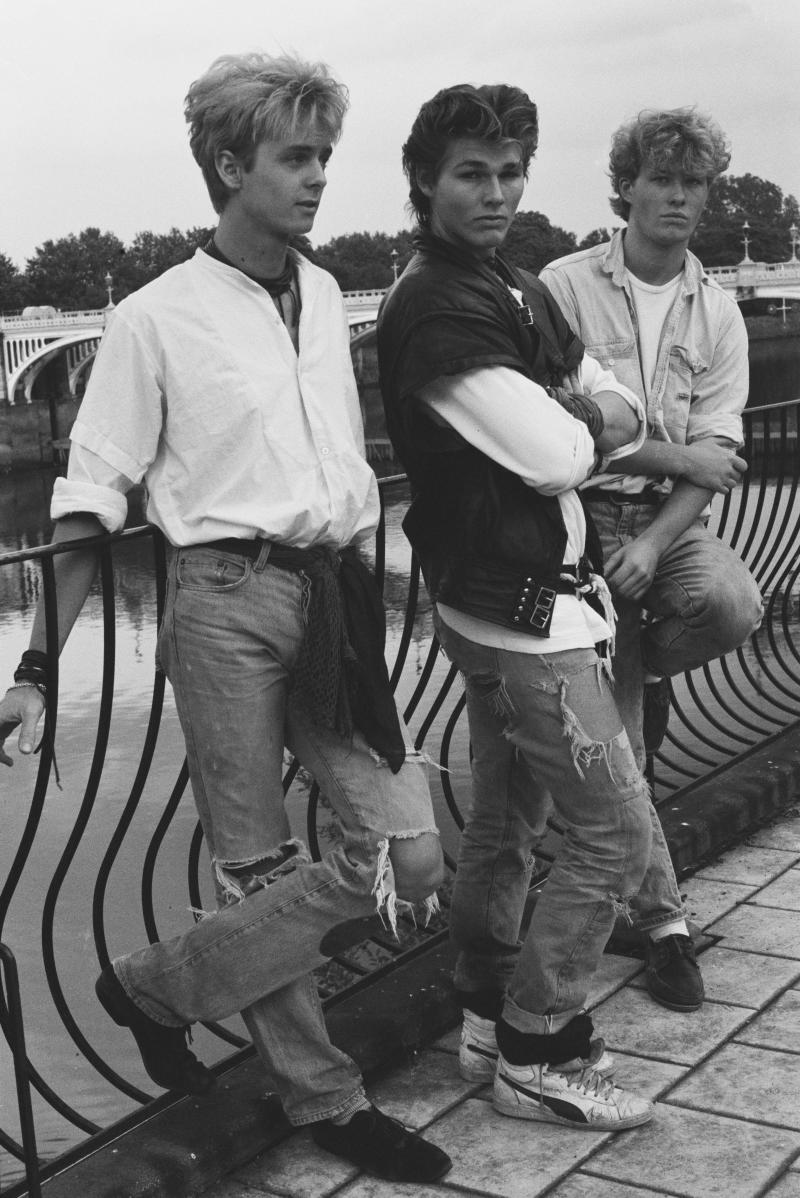 Group portrait of A-Ha at Eel Pie Studios during the making of their first album, Twickenham, London, 1984. L-R Pal Waaktaar, Morten Harket, Mags Furuholmen. (Photo by Erica Echenberg/Redferns)