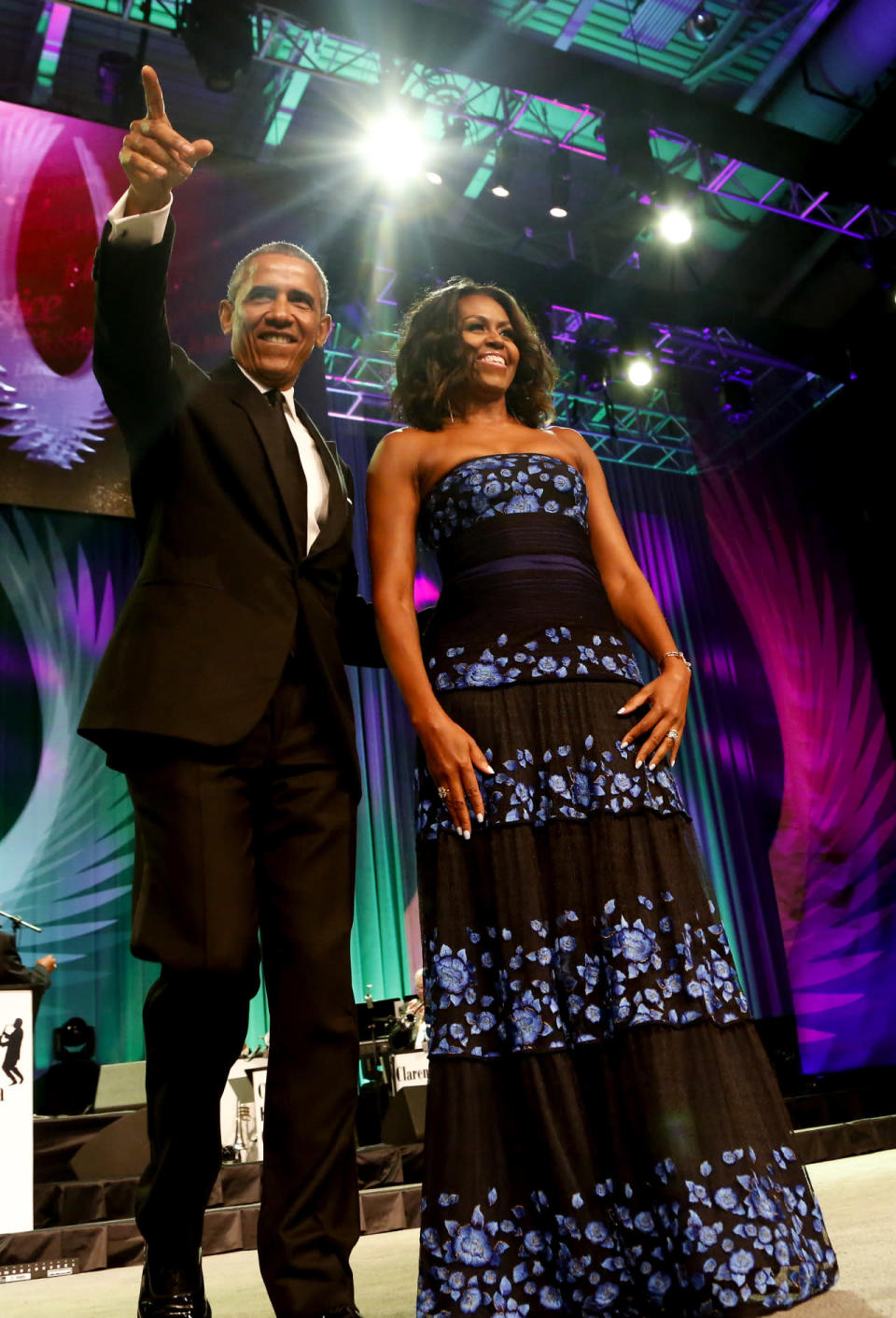 <p>Obama paid tribute to female leaders in civil rights and his wife made a statement in a black dress with blue flowers from Tadashi Shoji. <br></p>