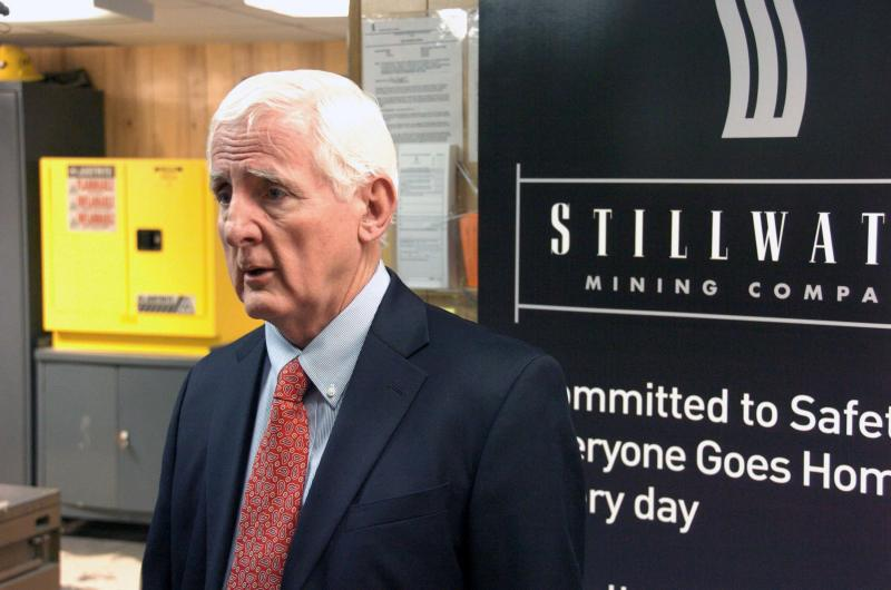 This photo shows Stillwater Mining Co. Chairman and Chief Executive Officer, Frank McAllister during the company's annual meeting near Nye, Mont. on Thursday, May 2, 2013. Shareholders voted to retain McAllister after a group of dissident investors including former Montana Gov. Brian Schweitzer, not seen, waged a campaign to take over the company, criticizing its pursuit of foreign mining ventures. (AP Photo/Matthew Brown)
