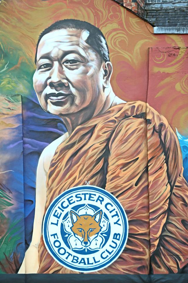 <p>A mural of the Leicester owner Vichai Srivaddhanaprabha, following a helicopter in a car park near the stadium shortly after 8.30pm on Saturday evening. Aaron Chown/PA Wire </p>
