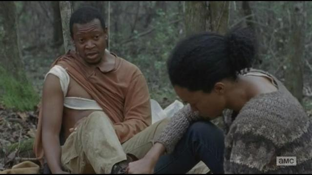 Lawrence Gilliard Jr. as Bob and Sonequa Martin-Green as Sasha in <i>The Walking Dead</i>. (Photo: AMC)