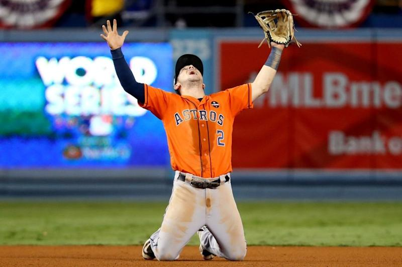 Alex Bregman of the Houston Astros celebrates after the Astros defeated the Los Angeles Dodgers in Game 7 | Alex TrautwigMLB Photos via Getty Images