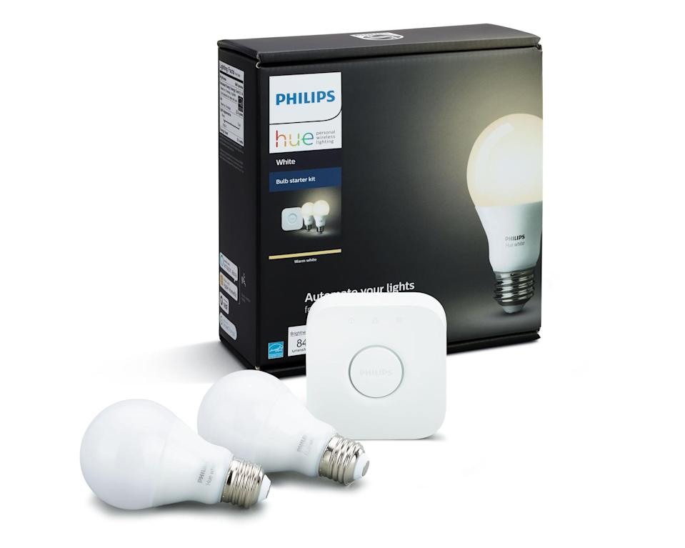 """<p>Control your lights from anywhere and set the mood with this <a href=""""https://www.popsugar.com/buy/Philips-Hue-Smart-Light-Starter-Kit-408636?p_name=Philips%20Hue%20Smart%20Light%20Starter%20Kit&retailer=walmart.com&pid=408636&price=71&evar1=geek%3Aus&evar9=36026397&evar98=https%3A%2F%2Fwww.popsugar.com%2Ftech%2Fphoto-gallery%2F36026397%2Fimage%2F45754650%2FPhilips-Hue-Smart-Light-Starter-Kit&list1=shopping%2Cgifts%2Cgadgets%2Cgift%20guide%2Cdigital%20life%2Cwalmart%2Ctech%20gifts%2Cgifts%20for%20men%2Chome%20shopping&prop13=mobile&pdata=1"""" class=""""link rapid-noclick-resp"""" rel=""""nofollow noopener"""" target=""""_blank"""" data-ylk=""""slk:Philips Hue Smart Light Starter Kit"""">Philips Hue Smart Light Starter Kit</a> ($71).</p>"""
