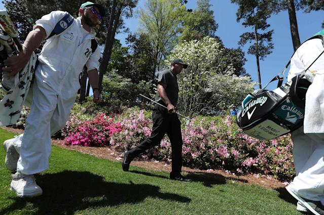 Tiger Woods of the U.S. walks down the 6th fairway during first round play of the 2018 Masters golf tournament at the Augusta National Golf Club in Augusta, Georgia, U.S., April 5, 2018. REUTERS/Lucy Nicholson