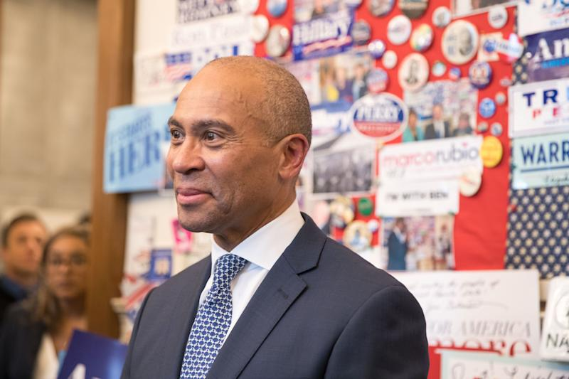 Former Massachusetts Gov. Deval Patrick stands in the visitor center of the New Hampshire State House after he filing his paperwork to run for president on Thursday. (Photo: Scott Eisen/Getty Images)