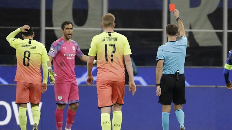 Manchester City goalkeeper Claudio Bravo gets his marching orders in the draw with Atalanta