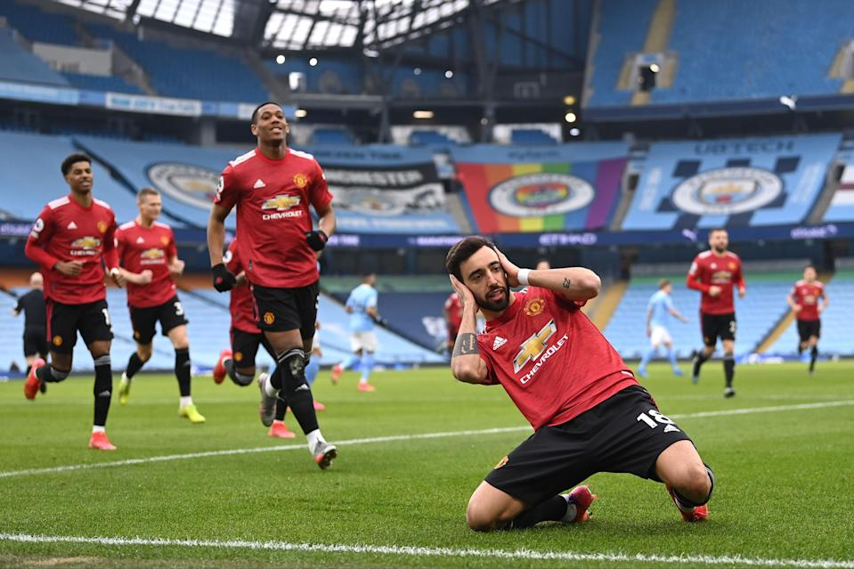 <p>Bruno Fernandes' penalty set United on the road to victory</p> (POOL/AFP via Getty Images)