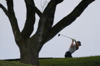 Patrick Rodgers plays his shot from the sixth tee during the second round of the U.S. Open Golf Championship, Friday, June 18, 2021, at Torrey Pines Golf Course in San Diego. (AP Photo/Marcio Jose Sanchez)