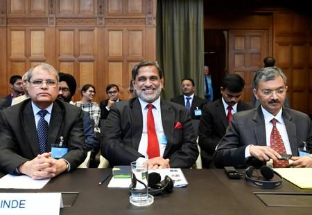 Vishnu Dutt Sharma, Venu Rajamony and Deepak Mittal are seen at the International Court of Justice, before the issue of a verdict in the case of Indian national Kulbhushan Jadhav, in The Hague
