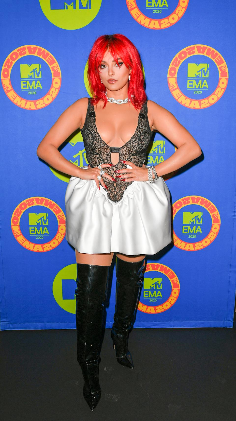 In this image released on November 08, Bebe Rexha poses ahead of the MTV EMA's 2020 on November 02, 2020 in Los Angeles, California. The MTV EMA's aired on November 08, 2020.
