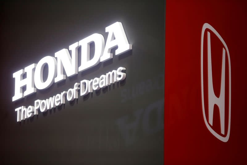 FILE PHOTO: The Honda logo is displayed at the 89th Geneva International Motor Show