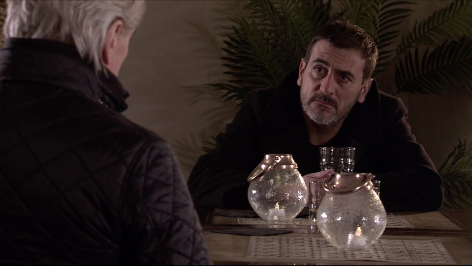 Ken Barlow [WILLIAM ROACHE] finds Peter Barlow [CHRIS GASCOYNE] drunk in a hotel bar but when he tries to take his drink off him, Peter lashes out Picture contact David.crook@itv.com This photograph is (C) ITV Plc and can only be reproduced for editorial purposes directly in connection with the programme or event mentioned above, or ITV plc. Once made available by ITV plc Picture Desk, this photograph can be reproduced once only up until the transmission [TX] date and no reproduction fee will be charged. Any subsequent usage may incur a fee. This photograph must not be manipulated [excluding basic cropping] in a manner which alters the visual appearance of the person photographed deemed detrimental or inappropriate by ITV plc Picture Desk. This photograph must not be syndicated to any other company, publication or website, or permanently archived, without the express written permission of ITV Picture Desk. Full Terms and conditions are available on  www.itv.com/presscentre/itvpictures/terms