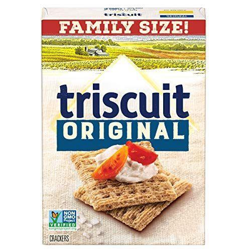 "<p><strong>Triscuit</strong></p><p>amazon.com</p><p><a href=""https://www.amazon.com/dp/B0744FNGTR?tag=syn-yahoo-20&ascsubtag=%5Bartid%7C2089.g.35651204%5Bsrc%7Cyahoo-us"" rel=""nofollow noopener"" target=""_blank"" data-ylk=""slk:Shop Now"" class=""link rapid-noclick-resp"">Shop Now</a></p><p>Not every flavor of Triscuit is vegan, but so many are, including (but not limited to) original, roasted garlic, sea salt and olive oil, fire roasted tomato and olive oil, and wasabi and soy sauce. Now all you need is some vegan cheese to go with them!</p><p><em>Per 6 crackers: 120 cals, 3.5 g fat (0.5 g sat), 160 mg sodium, 20 g carbs, 3 g fiber, 0 g sugar, 3 g protein. </em></p>"