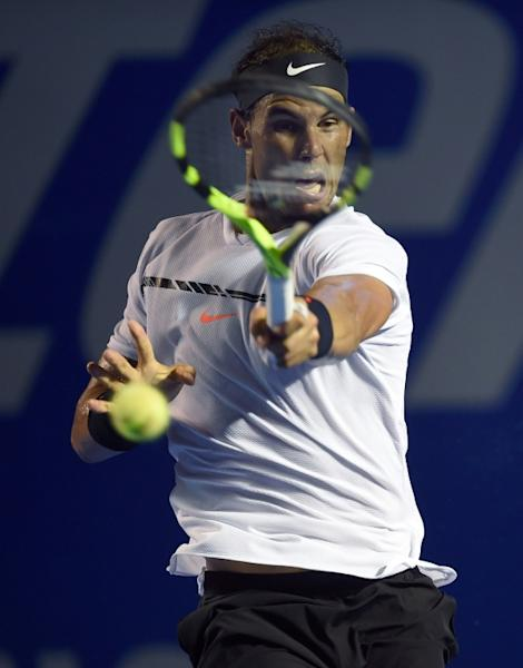 Spain's Rafael Nadal in action against Japan's Yoshihito Nishioka at the Mexico Open in Acapulco on March 2, 2017
