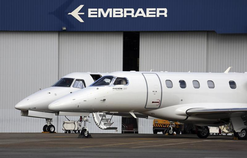 Private jets are seen at the Embraer headquarters in Sao Jose dos Campos