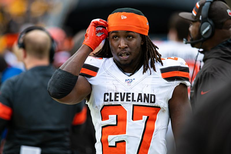 After a lackluster effort in a loss to the last-place Cardinals, Kareem Hunt questioned his teammates' effort. (Mark Alberti/Icon Sportswire via Getty Images)