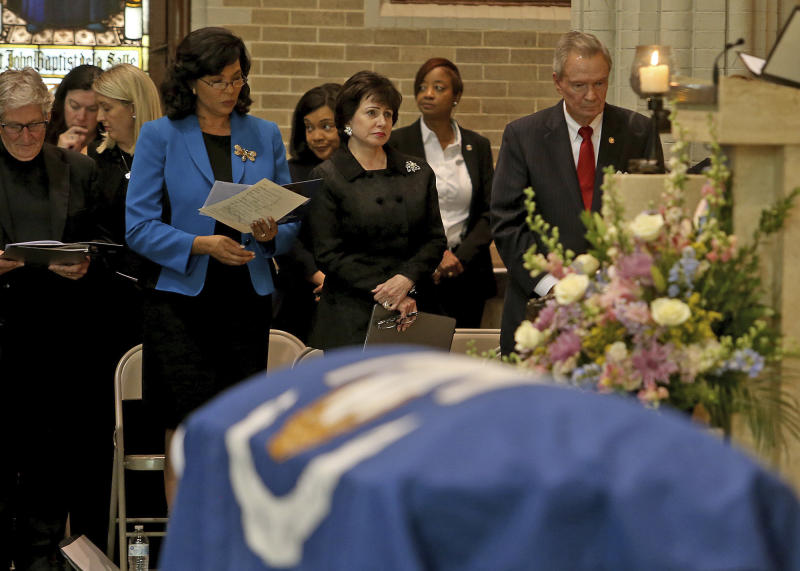 New Orleans Saints owner Gayle Benson listens during a Celebration of Life Interfaith Service for former Louisiana Gov. Kathleen Babineaux Blanco, at St. Joseph Cathedral in Baton Rouge, La., Thursday, Aug. 22, 2019. Thursday was the first of three days of public events to honor Blanco, the state's first female governor who died after a years long struggle with cancer.(AP Photo/Michael Democker, Pool)