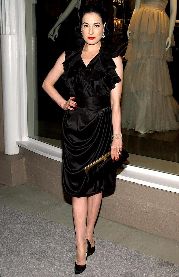 "Style icon Dita Von Teese is flawless every night of the week. Marilyn Manson, eat your heart out! Jean-Paul Aussenard/<a href=""http://www.wireimage.com"" target=""new"">WireImage.com</a> - October 10, 2007"