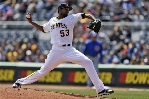 Pittsburgh Pirates starting pitcher James McDonald delivers during fourth inning of a baseball game against the Chicago Cubs in Pittsburgh, Thursday, April 4, 2013. (AP Photo/Gene J. Puskar)